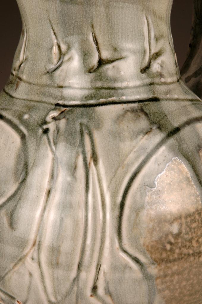 detail, wet scragfitto, ash glaze over porcelain slip