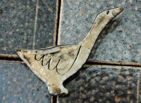 goose brooch, wood-fired salt-glaze